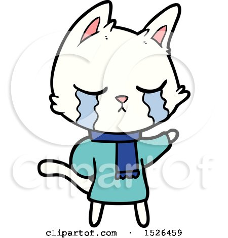 Crying Cartoon Cat Wearing Winter Clothes by lineartestpilot