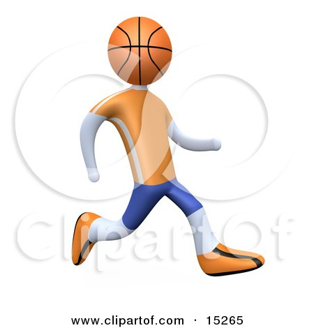 Basketball Player With A Basketball Head, Running In An Orange And Blue Uniform  Posters, Art Prints