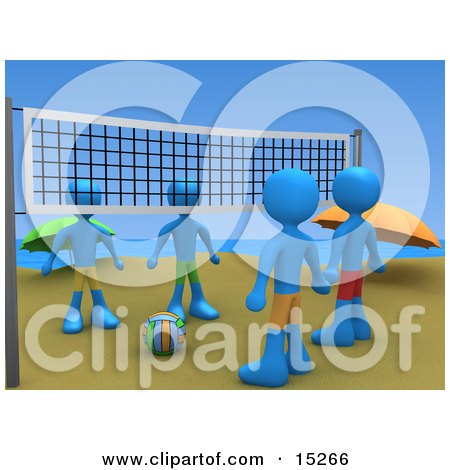 Four People Facing Eachother While Standing On Two Sides Of A Beach Volleyball Net With The Ball Between Them Clipart Illustration Image by 3poD