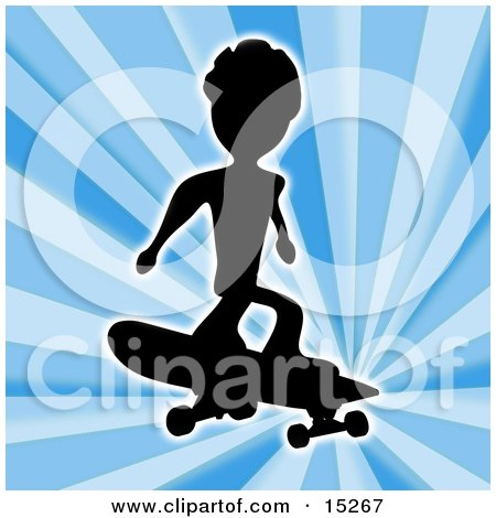 Silhouetted Skateboarder Jumping And Catching Air Over A Blue Background Posters, Art Prints