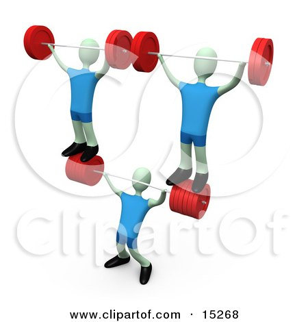 Strong Man Lifting Heavy Barbell Weights And Two Other Weightlifters Over His Head In A Fitness Gym Clipart Illustration Image by 3poD