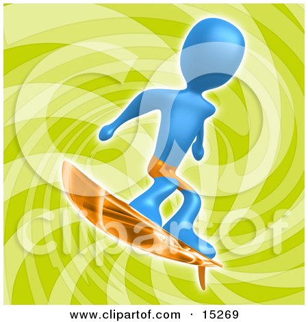 Blue Person Wearing Orange Shorts And Surfing Over A Green Background  Posters, Art Prints