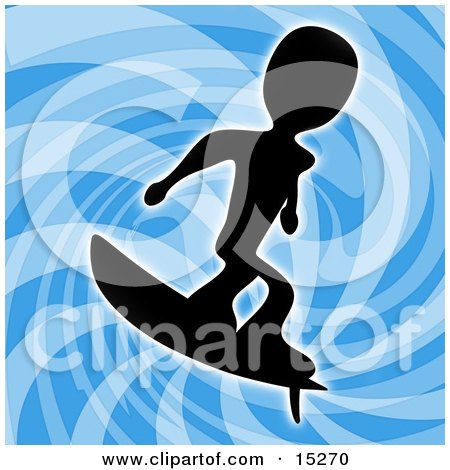Silhouetted Person Wearing Surfing Over A Blue Background  Posters, Art Prints