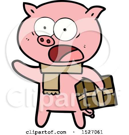 Cartoon Pig with Christmas Present by lineartestpilot