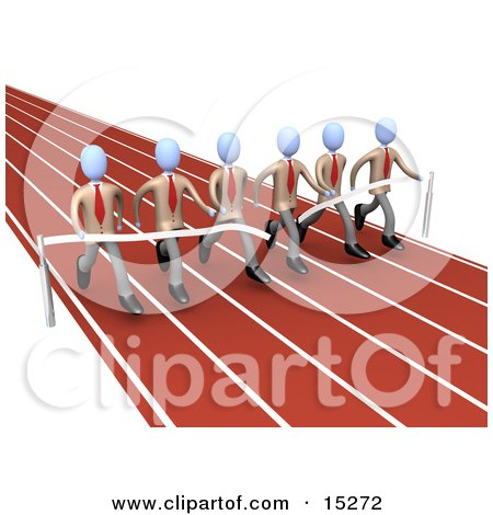 Team Of Businessmen In Matching Uniforms, Running A Marathon On A Race Track And Completing A Race At The Same Time Clipart Illustration Image by 3poD