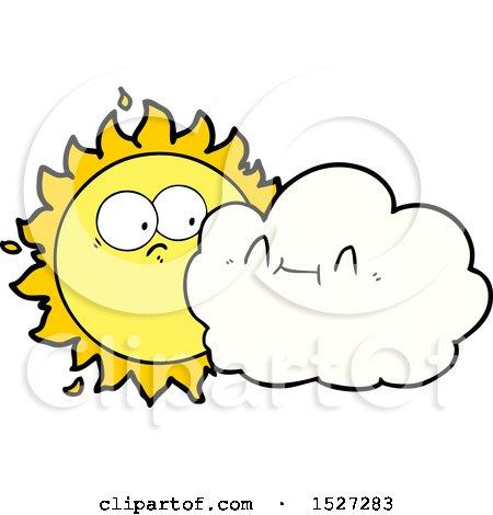 Cute Cartoon Cloud and Sun by lineartestpilot
