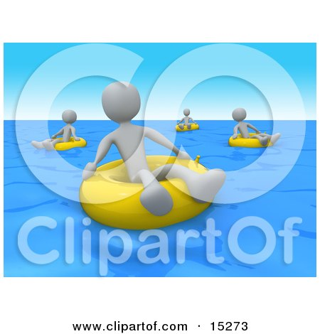 Grey People Relaxing And Floating On Yellow Inner Tubes In The Ocean On Summer Vacation  Posters, Art Prints