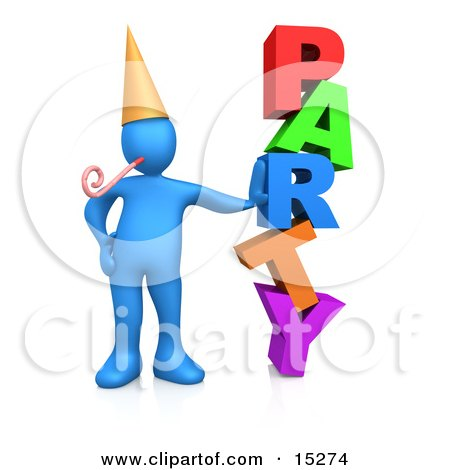Blue Person In A Gold Party Hat With A Party Blower, Leaning Against The Colorful Word Party Clipart Illustration Image by 3poD