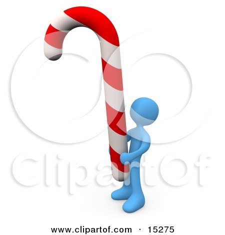 Blue Person Holding A Huge Red And White Striped Peppermint Candy Cane Clipart Illustration Image