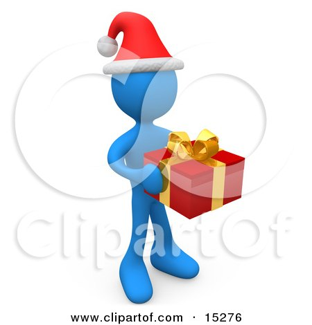 Blue Person In A Santa Hat, Carrying A Red And Gold Christmas Present To A Gift Exchange Party Clipart Illustration Image by 3poD