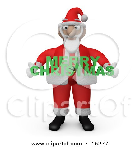 Santa Claus Carrying A Green Merry Christmas Sign Clipart Illustration Image by 3poD