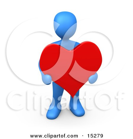 Blue Person Holding A Big Read Heart Clipart Illustration Image by 3poD
