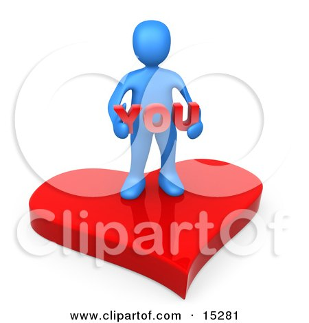 Blue Person Stading On A Red Heart Platform And Holding The Word You  Posters, Art Prints