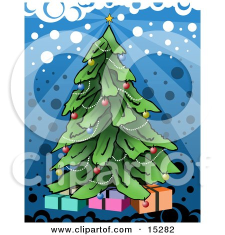 Gifts Under A Decorated Christmas Tree In The Snow Clipart Illustration Image by 3poD