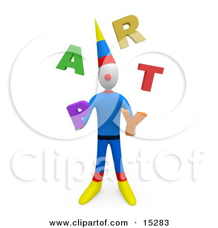 Party Clown Juggling The Word Party  Posters, Art Prints