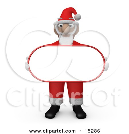 Santa Claus Carrying A Blank White Sign  Posters, Art Prints