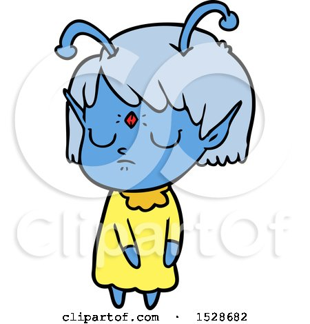 Cartoon Alien Girl by lineartestpilot