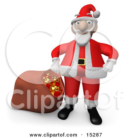 Santa Claus Standing With His Hands On His Hips, Pulling A Sack Of Red Christmas Presents With Gold Bows And Ribbons Clipart Illustration Image by 3poD