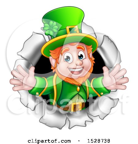 Clipart of a St Patricks Day Leprechaun Breaking Through a Hole in a Wall - Royalty Free Vector Illustration by AtStockIllustration