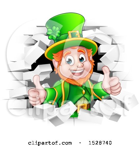 Clipart of a St Patricks Day Leprechaun Giving Two Thumbs up and Breaking Through White Brick Wall - Royalty Free Vector Illustration by AtStockIllustration