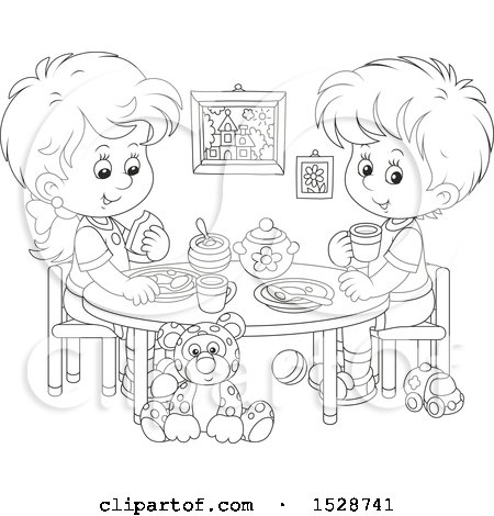 Clipart of a Lineart Boy and Girl Eating a Meal at a Play Room Table - Royalty Free Vector Illustration by Alex Bannykh