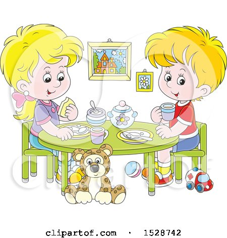 Clipart of a Blond White Boy and Girl Eating a Meal at a Play Room Table - Royalty Free Vector Illustration by Alex Bannykh