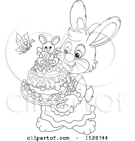 Clipart of a Black and White Female Bunny Rabbit Holding an Easter Cake - Royalty Free Vector Illustration by Alex Bannykh