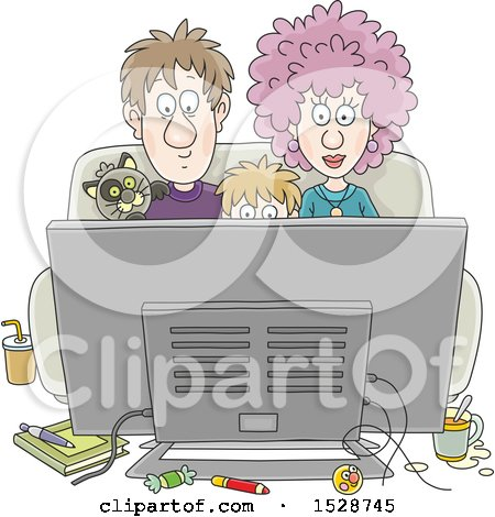 Clipart of a Boy and His Parents Watching a Movie with Their Cat - Royalty Free Vector Illustration by Alex Bannykh
