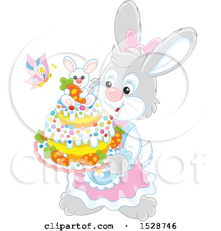 Clipart of a Female Rabbit Holding an Easter Cake - Royalty Free Vector Illustration by Alex Bannykh