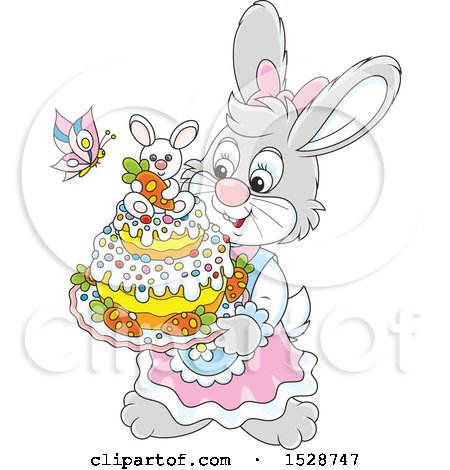 Clipart of a Female Bunny Rabbit Holding an Easter Cake - Royalty Free Vector Illustration by Alex Bannykh