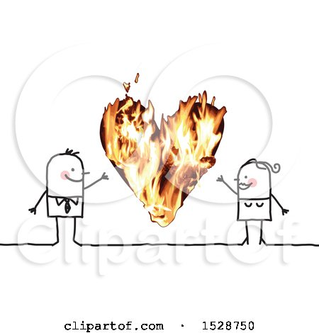 Clipart of a Stick Couple with a Fiery Heart - Royalty Free Vector Illustration by NL shop
