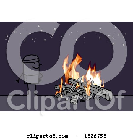 Clipart of a Stick Man Standing Under the Stars by a Camp Fire - Royalty Free Vector Illustration by NL shop