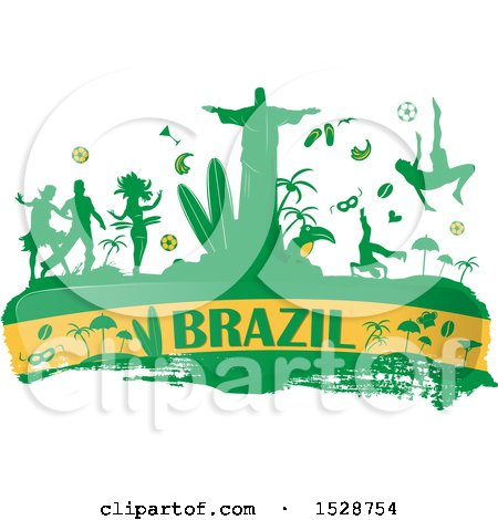Clipart of a Brazilian Banner with Silhouetted Icons - Royalty Free Vector Illustration by Domenico Condello