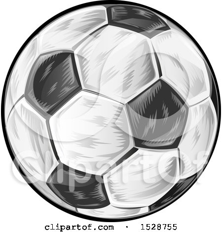 Clipart of a Soccer Ball - Royalty Free Vector Illustration by Domenico Condello