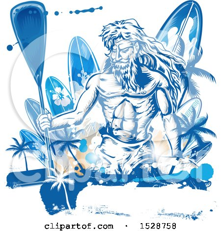 Clipart of Poseidon Holding a Paddle over Surfboards with Palm Trees and Grunge - Royalty Free Vector Illustration by Domenico Condello