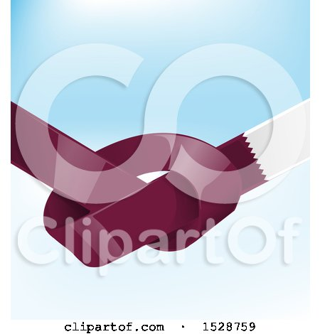 Clipart of a Knotted United Qatar Ribbon Flag over Blue - Royalty Free Vector Illustration by Domenico Condello