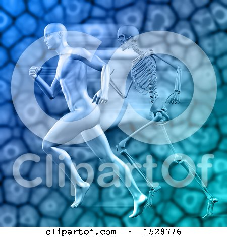Clipart of a 3d Sports Medicine Design of a Man Sprinting Against a Skeleton and Cells - Royalty Free Illustration by KJ Pargeter