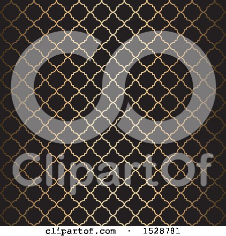 Clipart of a Golden Arabic Pattern on Black - Royalty Free Vector Illustration by KJ Pargeter