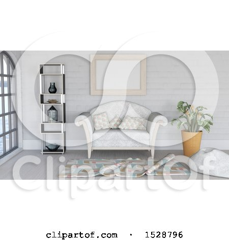 Clipart of a 3d Modern Lobby or Living Room Interior - Royalty Free Illustration by KJ Pargeter