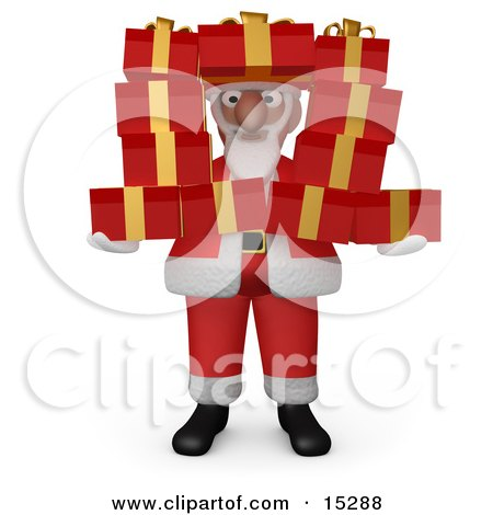 Santa Claus Holding And Peeking Through A Stack Of Presents