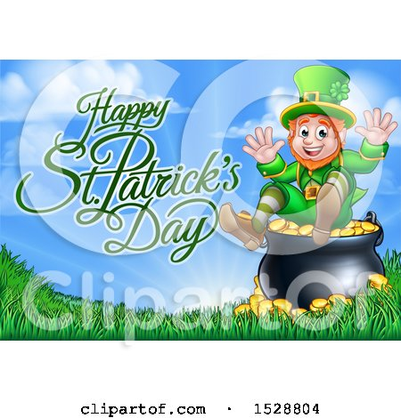 Clipart of a Happy St Patricks Day Greeting with a Leprechaun Sitting on a Cauldron of Gold - Royalty Free Vector Illustration by AtStockIllustration