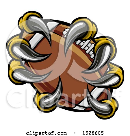 Clipart of Eagle Claws Grasping an American Football - Royalty Free Vector Illustration by AtStockIllustration