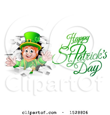 Clipart of a Happy St Patricks Day Greeting by a Leprechaun Breaking Through White Brick Wall - Royalty Free Vector Illustration by AtStockIllustration