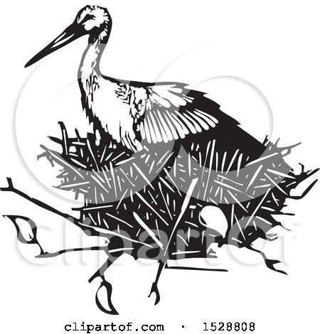 Clipart of a Stork Bird in a Nest, Black and White Woodcut - Royalty Free Vector Illustration by xunantunich