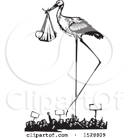 Clipart of a Stork Bird Standing over a Protesting Crowd with a Bundled Baby, Black and White Woodcut - Royalty Free Vector Illustration by xunantunich