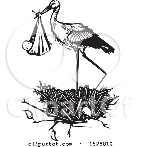 Clipart of a Stork Bird Standing in a Nest with a Bundled Baby, Black and White Woodcut - Royalty Free Vector Illustration by xunantunich