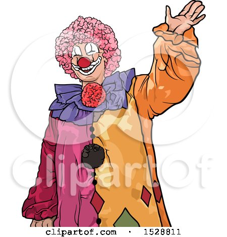 Clipart of a Colorful Clown Waving - Royalty Free Vector Illustration by dero