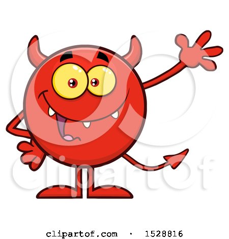 Clipart of a Round Red Devil Waving - Royalty Free Vector Illustration by Hit Toon
