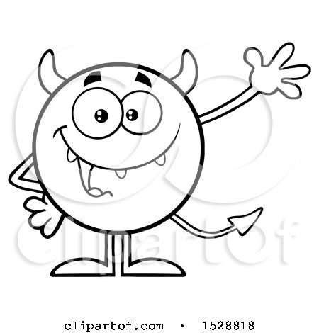 Clipart of a Black and White Round Devil Waving - Royalty Free Vector Illustration by Hit Toon
