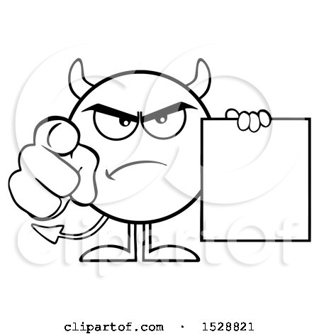 Clipart of a Black and White Round Devil Holding a Document and Pointing at the Viewer - Royalty Free Vector Illustration by Hit Toon